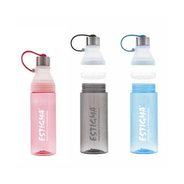 Cilindro de plástico, tapa enroscable con correa para sujetar y apertura central para permitir un mejor lavado. Cap. 690 ml.