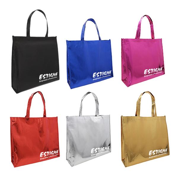 Bolsa ecológica de acabado metálico con fuelle. bolsa impresion, bolsa personalizada, bolsa ecologica con logo