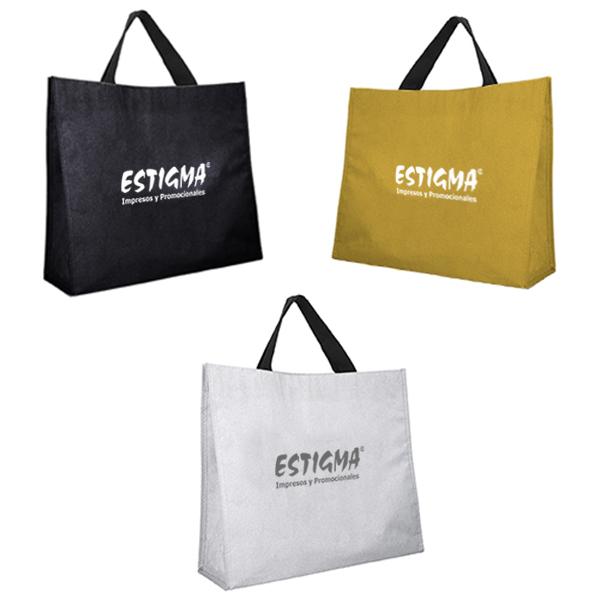 Bolsa ecológica de acabado glitter y asa de poliéster. impresion bolsa ecologica, bolsa personalizada, bolsa creativa personalizada