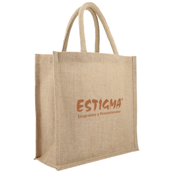 Bolsa de yute con fuelle y asas, bolsas ecologica personalizada, bolsa con logotipo, impresion bolssa ecologica,
