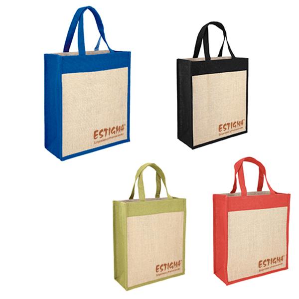 Bolsa personalizadaa, bolsa con logotipo, impresison de bolsa, bolsa promocionalBolsa de yute con fuelle y asas.