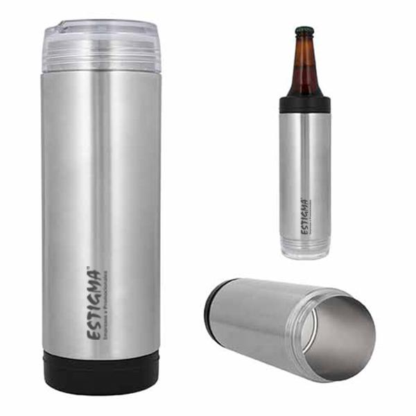 Termo de doble pared de acero inoxidable y tapa enroscable transparente, con aditamento para convertirse en porta lata o botella. Capacidad de 650 ml.
