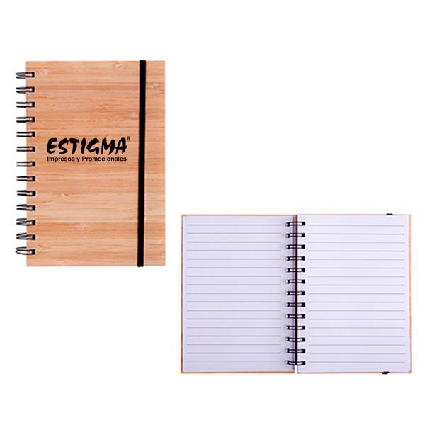 libreta de madera, libreta promocional